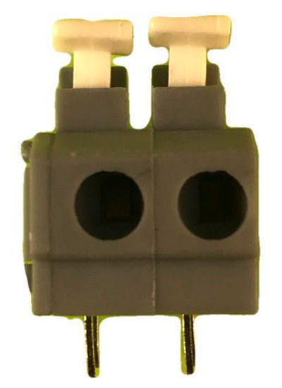 "Screwless Terminal Block - .1"" 2.54mm - Dual Pole - Gray"