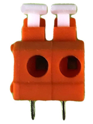 "Screwless Terminal Block - .1"" 2.54mm - Dual Pole - Orange"