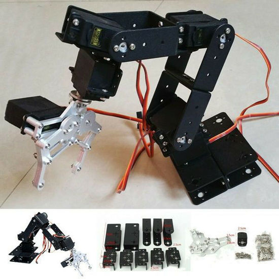 6 DOF 47cm Aluminium Mechanical Robotic Arm Clamp Claw Mount Robot Kit Black