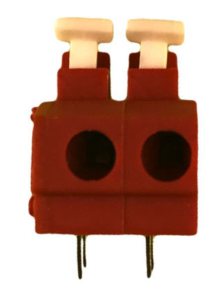 "Screwless Terminal Block -  .1"" 2.54mm - Dual Pole - Red"